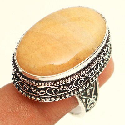 Yellow Lace Agate Vintage 925 Sterling Silver Jewelry Ring 8''
