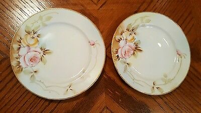 Antique NIPPON Gold Moriage Beaded Cabinet Plates Hand Painted Roses Crown Mark