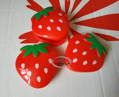 3 pcs Strawberry shaped Plastic Box Accessory cases set snack boxes ladies girls