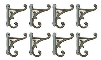 """Midwest Craft House 8 Brown Rustic Coat Hooks Antique Style CAST Iron 4.5"""" Wall"""