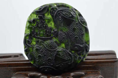 China's natural jade nephrite carving black jade pendant Dragon