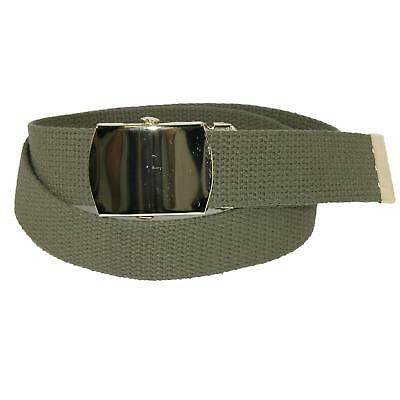 New CTM Kids' Cotton Adjustable Belt with Brass Military Buckle (Pack of 2)