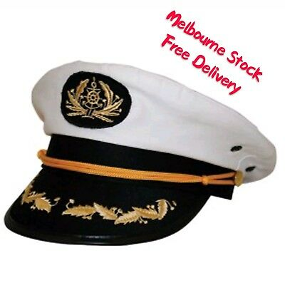 Super Sea Sailor Captain Cap Hat Navy Skipper Fancy Dress Accessories Costume
