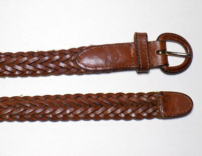 Vtg 90s Christian Dior Leather Belt, Small Brown Braided Belt, Designer