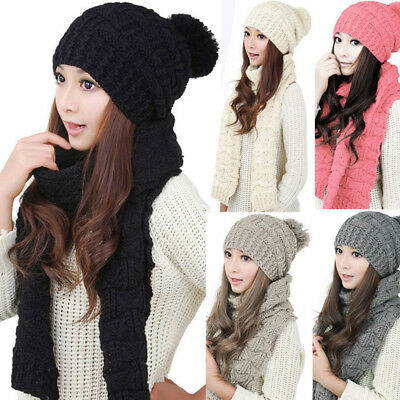 Scarf And Hat Set Womens Winter Warm Knitted Beanie Scarves Lady Knit Skullcaps
