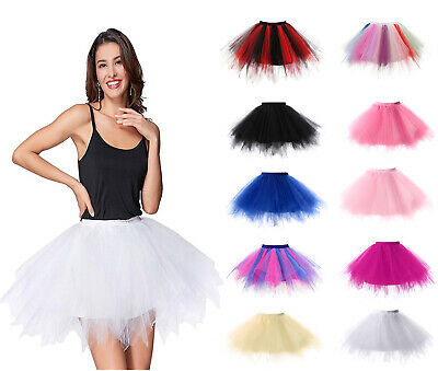 Fashion Women Adult Girls Ballet Dance Party 4 Layers 10 Colors Tutu Puffy Skirt