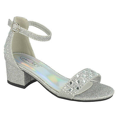Girls Glitter Formal Party Sandals Block Low Heel Spot On H1R101 Buckle Strap