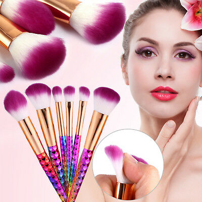 7Pcs Unicorn Diamond Mermaid Make up Brushes Set Powder Foundation Contour UK