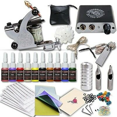 COMPLETE TATTOO STARTER Kit Machines Color Inks Power Supply Beginners Fake  Skin