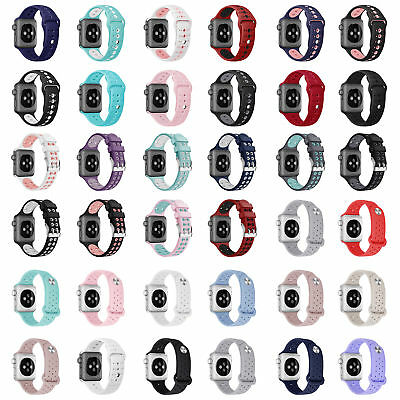 Silicone Soft Sport Band Strap Bracelet For Apple Watch iWatch 38 40 42 44mm