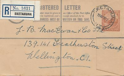 New Zealand: 1937: Registered letter Eketahuna to Wellington