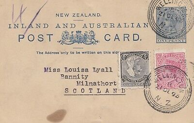 New Zealand 1895: Postcard Inland and  Australian from Wellington to Scotland