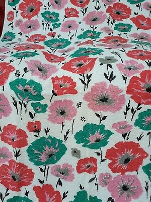 Vintage 1960's Cotton Towelling Terry Cloth Fabric Bright POPPIES Art Design