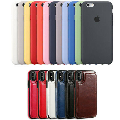 Genuine Original Silicone/Leather Case Cover For iPhone X XS Max XR 6s 7 8 Plus