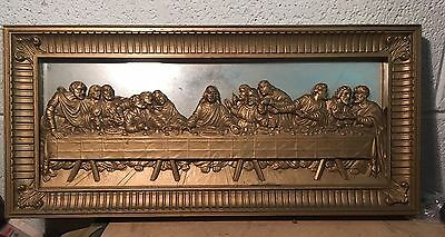 vintage home interiors jesus the last supper mirrored picture gold