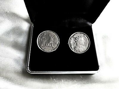 Certificated 200-350Ad Genuine Roman Emperor Silvered Coins Set In Cufflinks  Af
