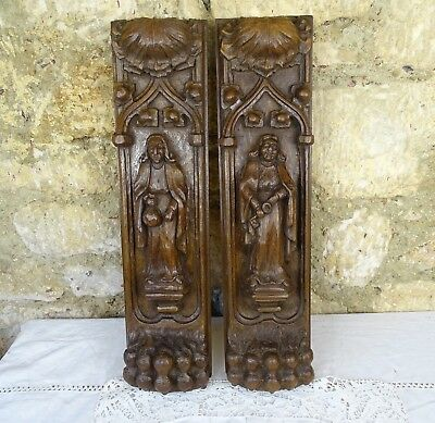 A Beautiful Pair of Gothic Carved Panels Oak Wood - Lion's paws