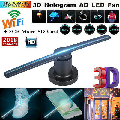 LED 3D WIFI Hologram 176° Projector with 8GB TF/SD Card for all Window Systems