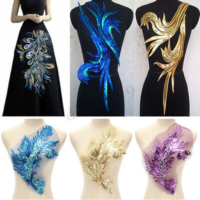 Applique Embroidered Sequins Feather Sewing On Applique DIY Trim Lady Dress Art
