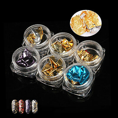 6 POTS/SET 3D Sticker Flake Decal Decor Nail Art Gold Silver Metal Foil Paper