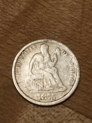 1875 CC Seated Liberty Dime    CC Above Bow