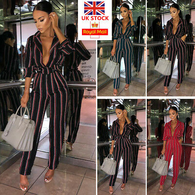 UK Womens Striped Deep V-Neck Jumpsuit Ladies Romper Playsuit Clubwear Culotte
