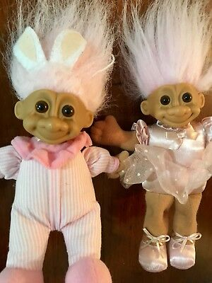 Russ Troll Dolls X2 Easter Bunny Ballerina Collectors Items Perfect Vintage