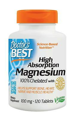 Doctor's Best, High Absorption Magnesium, 100% chelatiert, 120 Veg. Tabletten