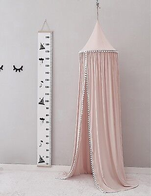 Pompom Canopy Tent Mosquito Net Dome Baby Nursery Crib Bedroom Cotton - Pink