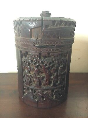 Antique Chinese Hand Carved Bamboo Tea Caddy