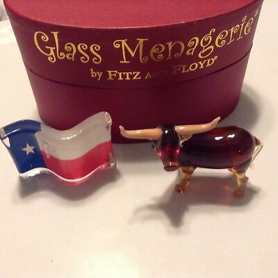 "Fitz & Floyd Glass Menagerie, ""texas Longhorn & Flag"", Beautiful Collectibles"