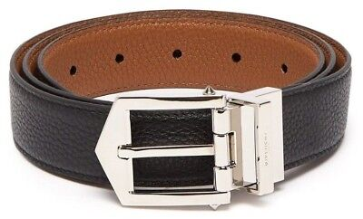 Givenchy Men's Obsedia Black & Tan Brown Reversible Pebble-grain Leather Belt