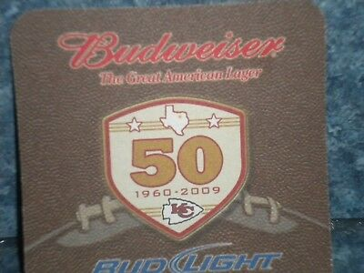 Beer Coaster ~ BUDWEISER BUD LIGHT Celebrating 50yrs of Kansas City Chiefs .