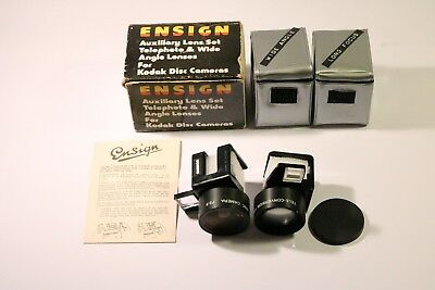 Ensign Auxiliary Lens Set Telephoto & Wide Angel Lenses For Kodak Disc Cameras