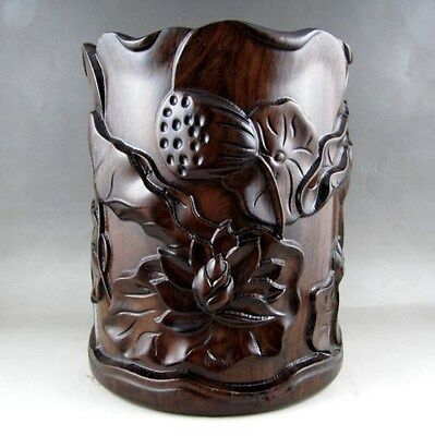 Beautiful Chinese Unique HuaLi Wood hand-carved Brush Pot nice e01