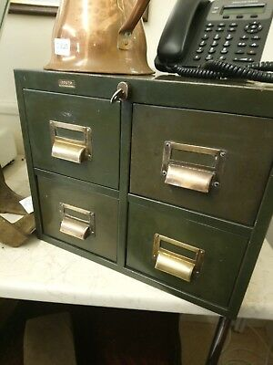 Roneo Vintage 4 Drawer Metal Filing Cabinet Industrial military Storage Green