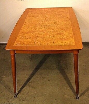 Original vintage mid century Danish retro dining table 1960's burl birch seats 6
