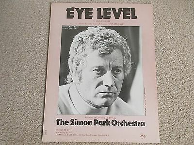 """Eye Level"" Sheet Music- theme Tune from Van Der Valk -  Very Good condition"