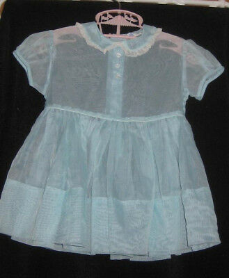 Vtg Youngland Sheer Nylon Baby  Girl Dress Sz 1 Mint Green 50-60's Era Tlc