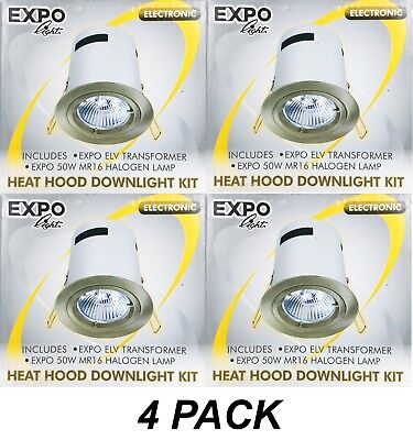 4 x Satin Chrome Round Fixed Downlight Kits w Hood & Transformer 12V 50W MR16