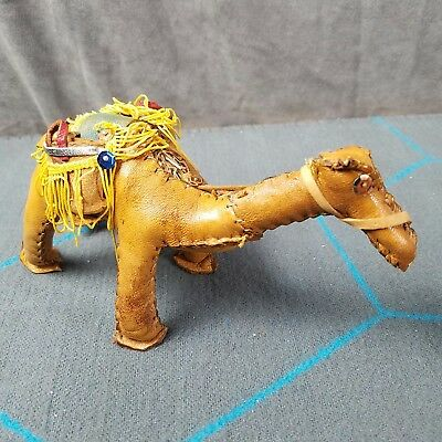 Vintage Small Leather Camel Figurine With Saddle