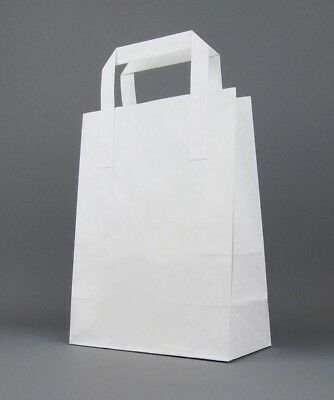Medium White Kraft Paper SOS Carrier Bags with Flat Handles / Takeaway / Gifts