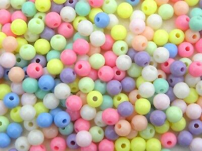 150 ACRYLIC TRANSLUCENT AB RAINBOW PEARL ROUND BEADS 6mm MIXED COLOURS ACR28