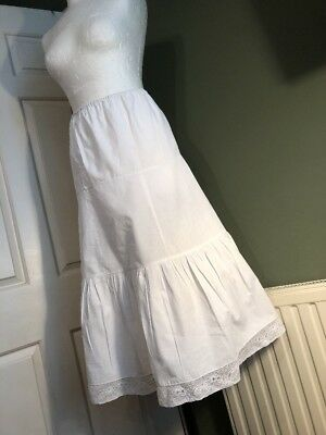 Vintage French White Cotton Linen Petticoat Slip Underwear