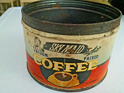RARE Sky Maid Coffee Can c.1940-Paper label 1lb can-Airplane-Hard To Find!