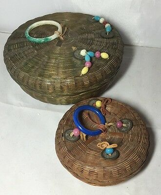 Vintage Pair of Chinese Sewing Baskets with Peking Glass Beads & Rings