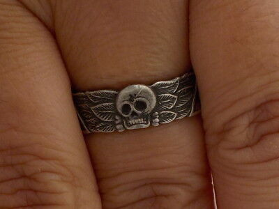 925 Silver Interesting Skull Ring With Inscription On Inner Band Boot Sale Find