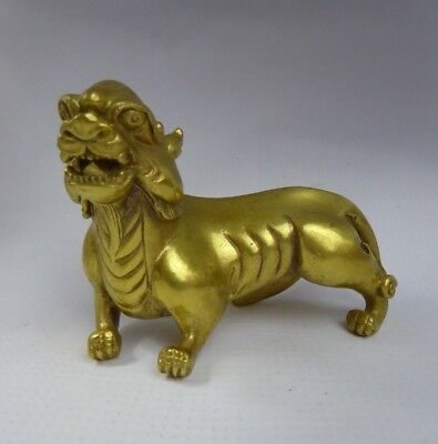 Chinese Fine Gilt Bronze Scroll Weight - Mythological Beast Bixie? - Scholars