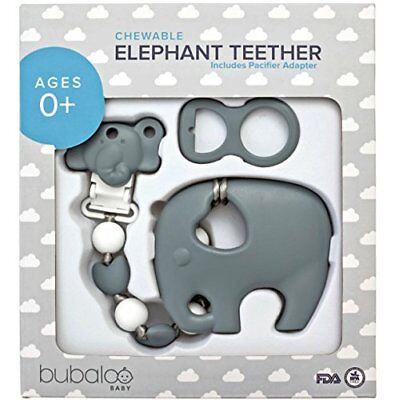 BABY TEETHING TOYS BPA FREE - Silicone Elephant Teether with Pacifier Clip Set -