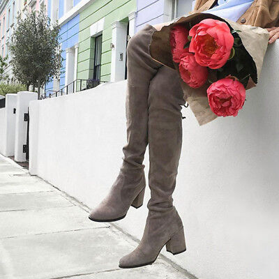 Ladies Military Combat Over The Knee Slouch Boots Chunky Heels Lace up Shoes New